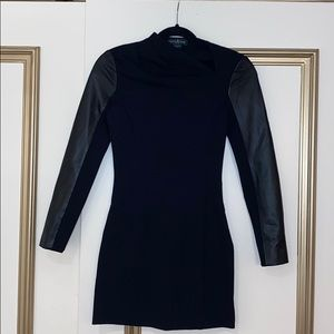 Marciano black and leather mini dress.